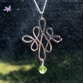 Celtic Peridot Silver Wire Wrapped Pendant